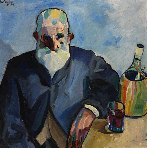 Ritratto di uomo con fiasco e bicchiere