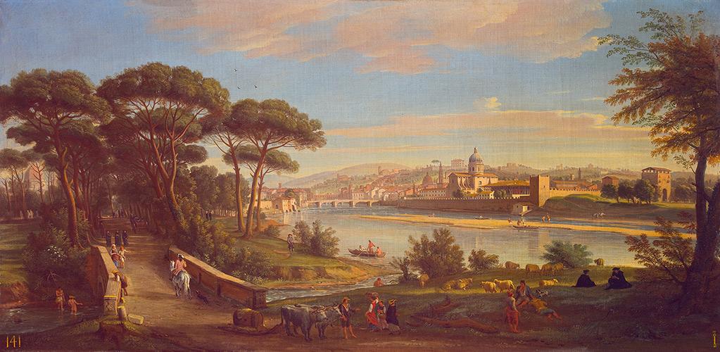 Veduta di Firenze con il fiume Arno alle Cascine