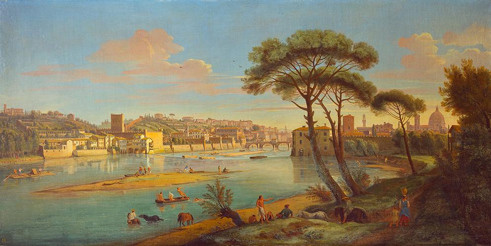 Veduta di Firenze con il fiume Arno alla pescaia di San Niccolò