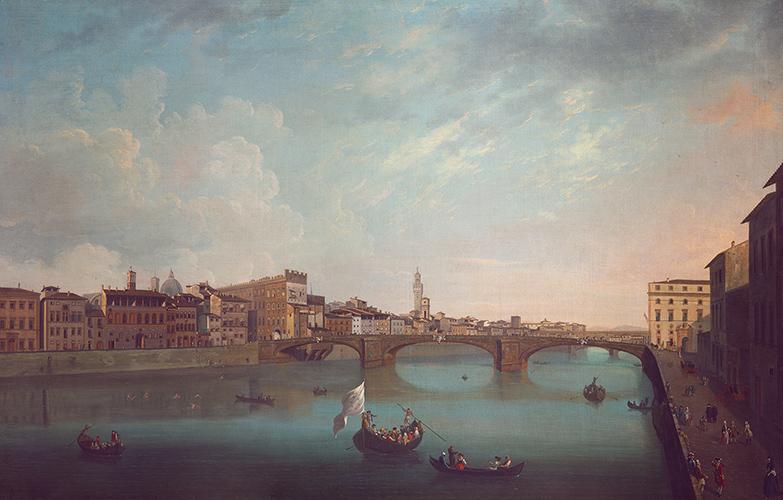 Veduta di Firenze con il fiume Arno al ponte Santa Trinita