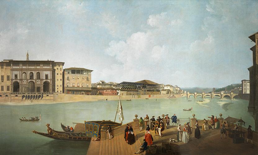 Veduta di Firenze con il fiume Arno agli Uffizi durante il carnevale