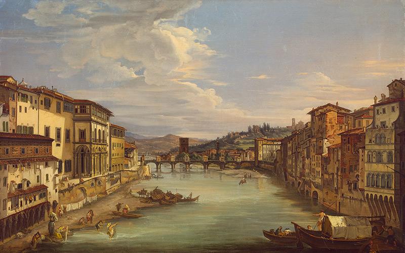 Veduta di Firenze con il fiume Arno da Ponte Vecchio verso Pont