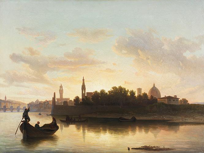 L'Arno alla pescaia di San Niccolò al tramonto